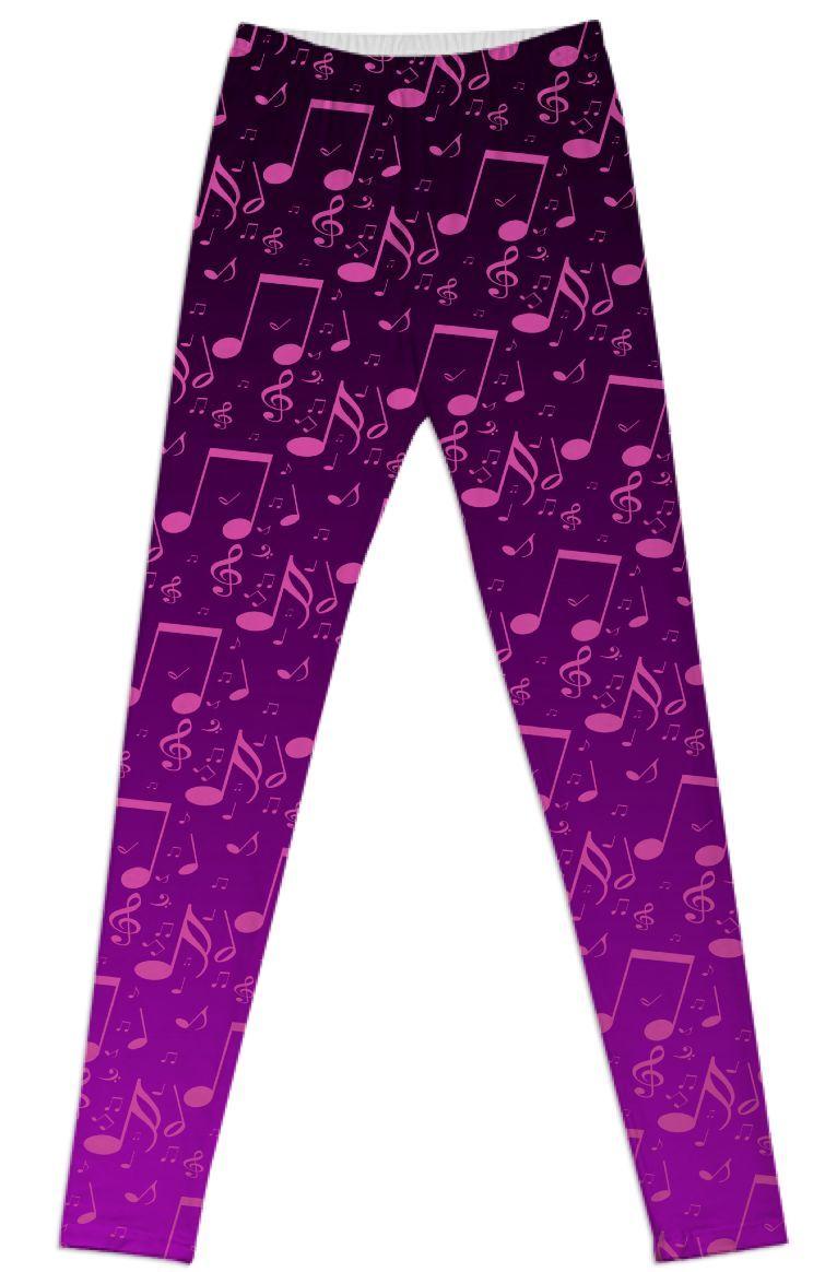 Custom print Modern Music Notes leggings from Saytoons #customfashion #PAOM