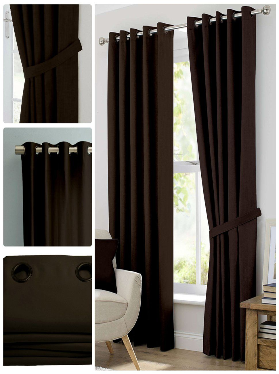 Blackout Room Darkening Curtains Window Panel Drapes Dark Brown Color 2 Panel