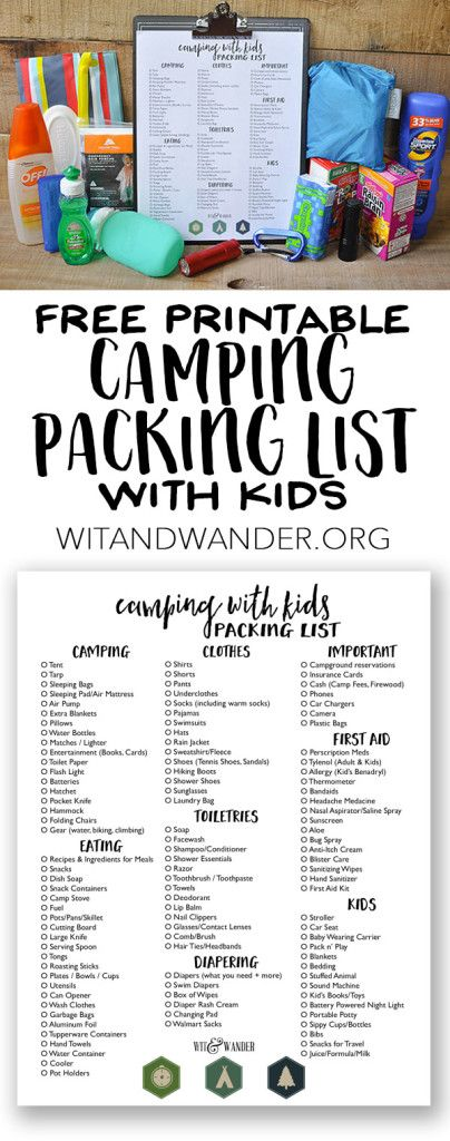 Camping with Kids - Free Printable Packing List Camping, Outdoors