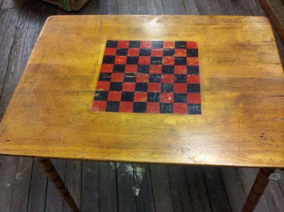 Fabulous Antique Wooden Checkerboard Table by RagtagStudio on Etsy