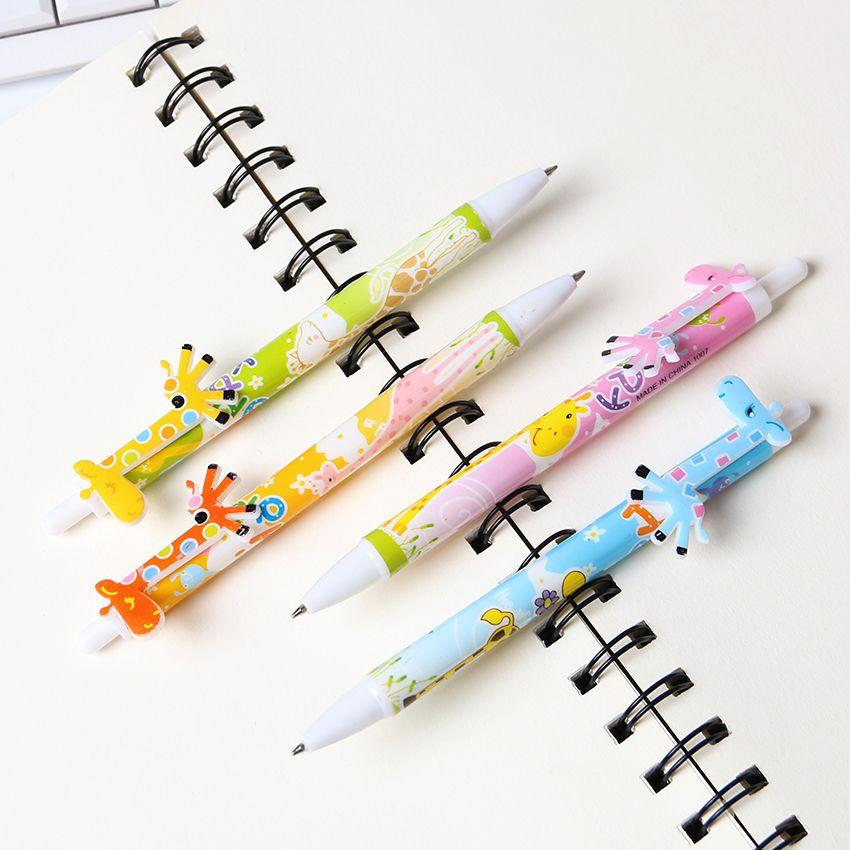 4pcs Kawaii Cartoon Ballpoint Pen Cute Creative Stationery School Office Supplies Giraffe Ball For Students