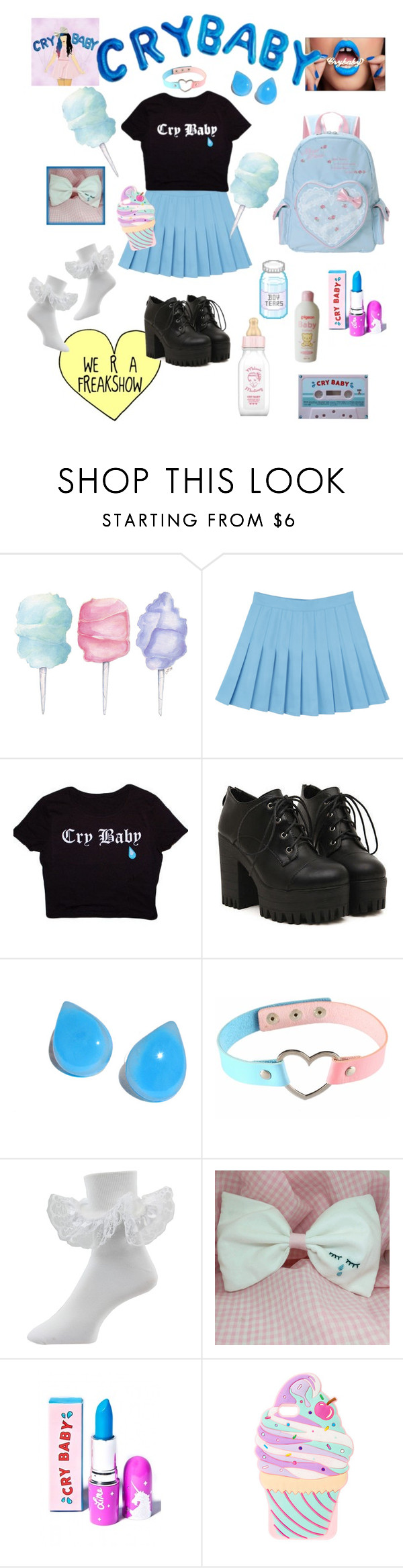 """""""Cry Baby"""" by dazzling-pink-elaina ❤ liked on Polyvore featuring Cotton Candy and claire's"""