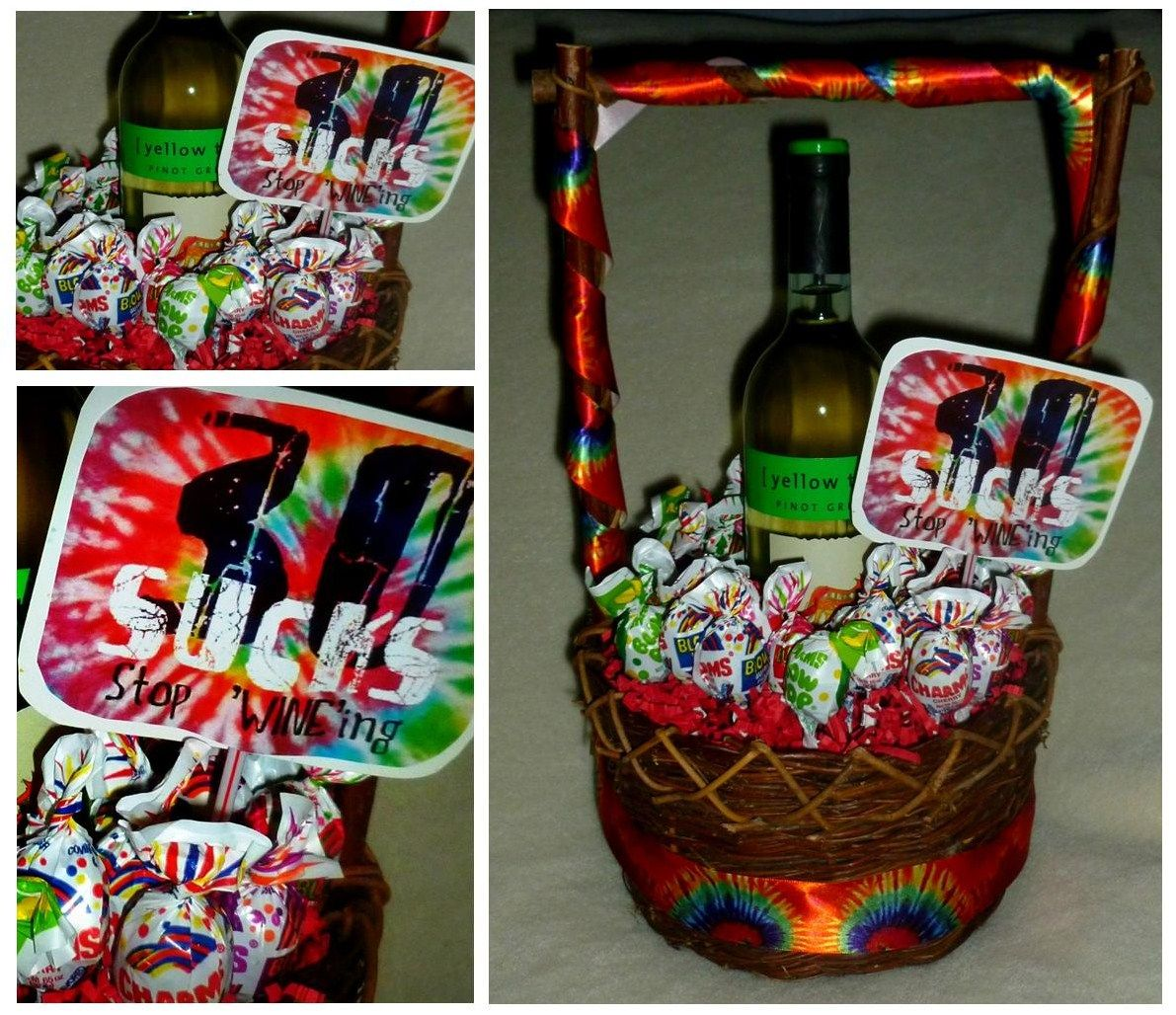 Turning 30 Birthday Basket: 30 'SUCKS', Stop 'WINE'ing! Wine Gift Basket For 30th