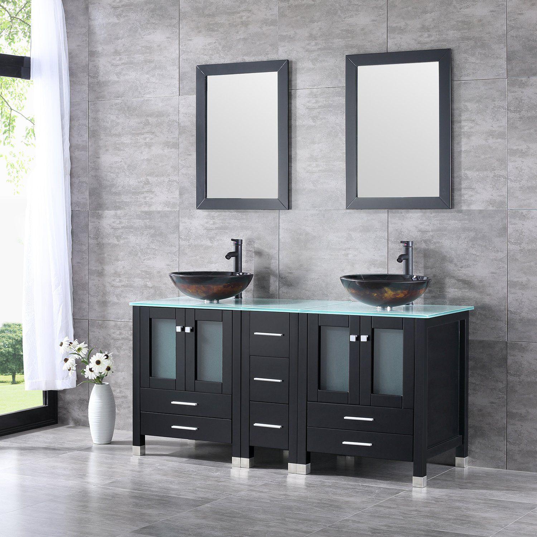 Walcut Black 60 Inch Bathroom Vanity and Sink Combo MDF ...