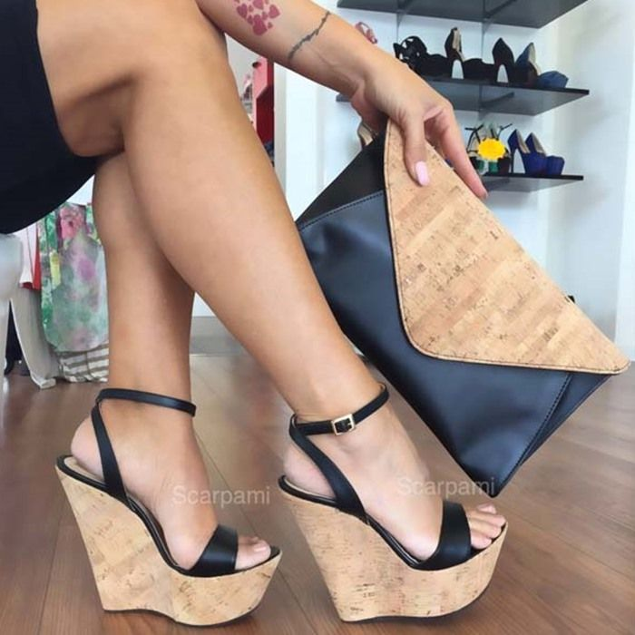 5a910d5af81 Cork wedge Scarpami Tiffany Black | High Heels and Women's Shoes ...