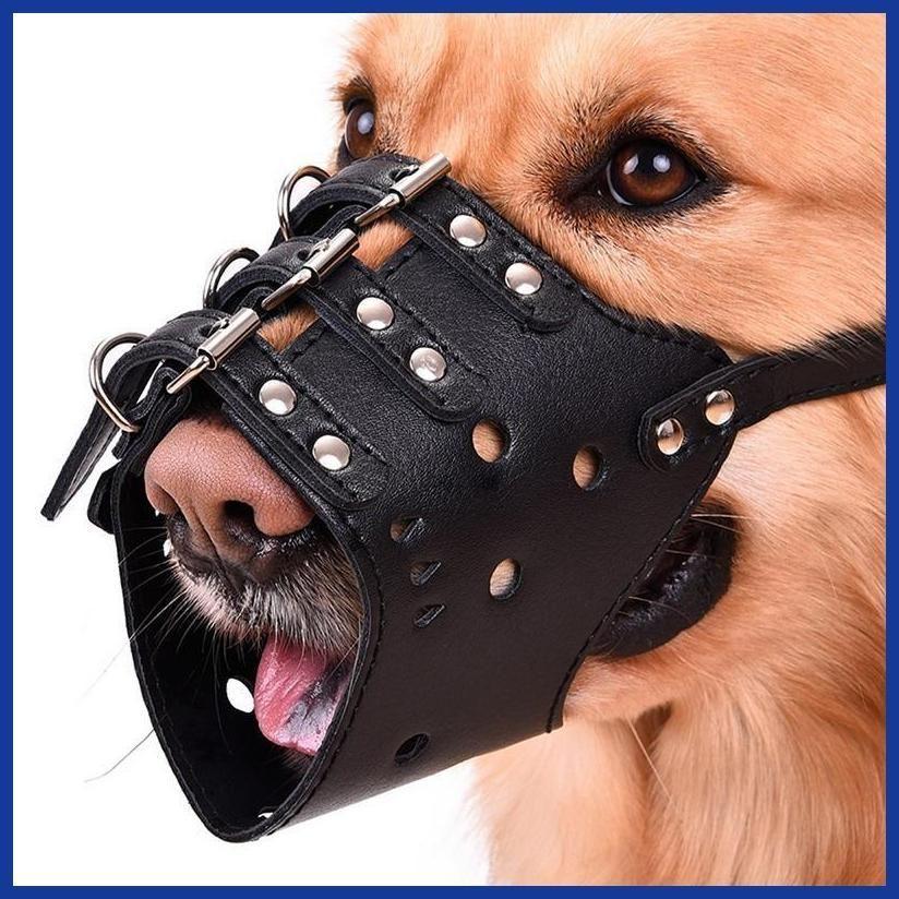 Hot Selling Adjustable Soft Leather Mesh Pet Dog Muzzle Anti Bark