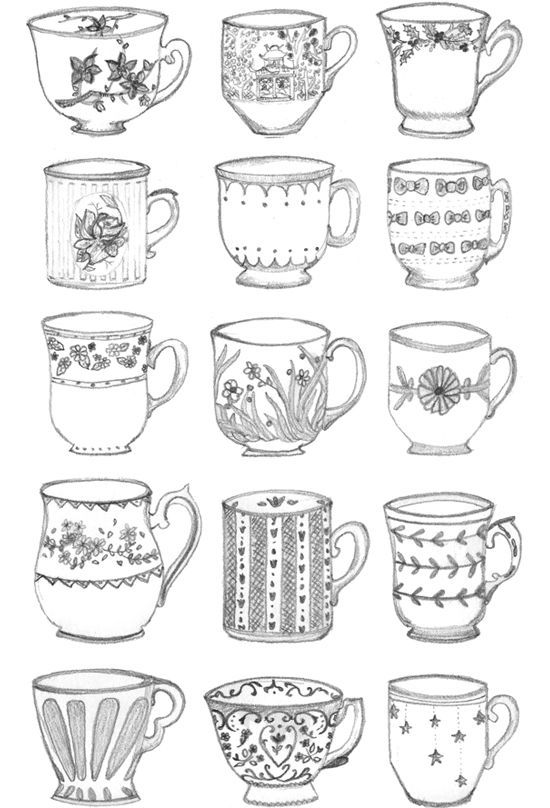 simple coloring pages of tea cups | Teacups - tint embroidered versions of these? | Doodles ...