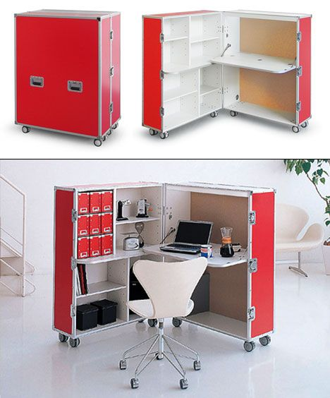 Red Rolling Case Office From Dead Link On Core77 Source Modern Home Office Furniture Portable House Modular Office Furniture