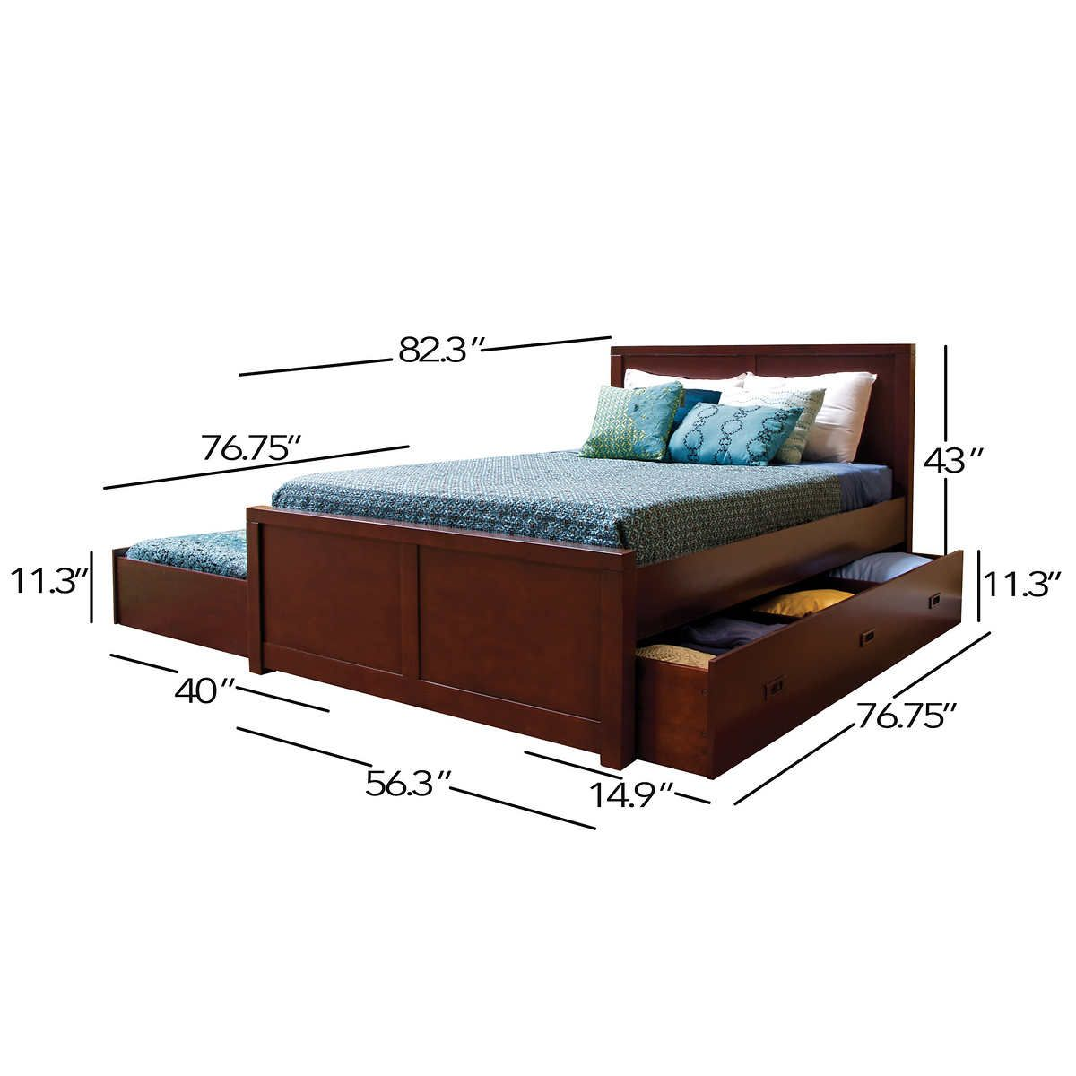 Queen Bed With Trundle Underneath Easy Solution For Sleep Over Home Build Designs Queen Size Trundle Bed Trundle Bed Frame Trundle Bed