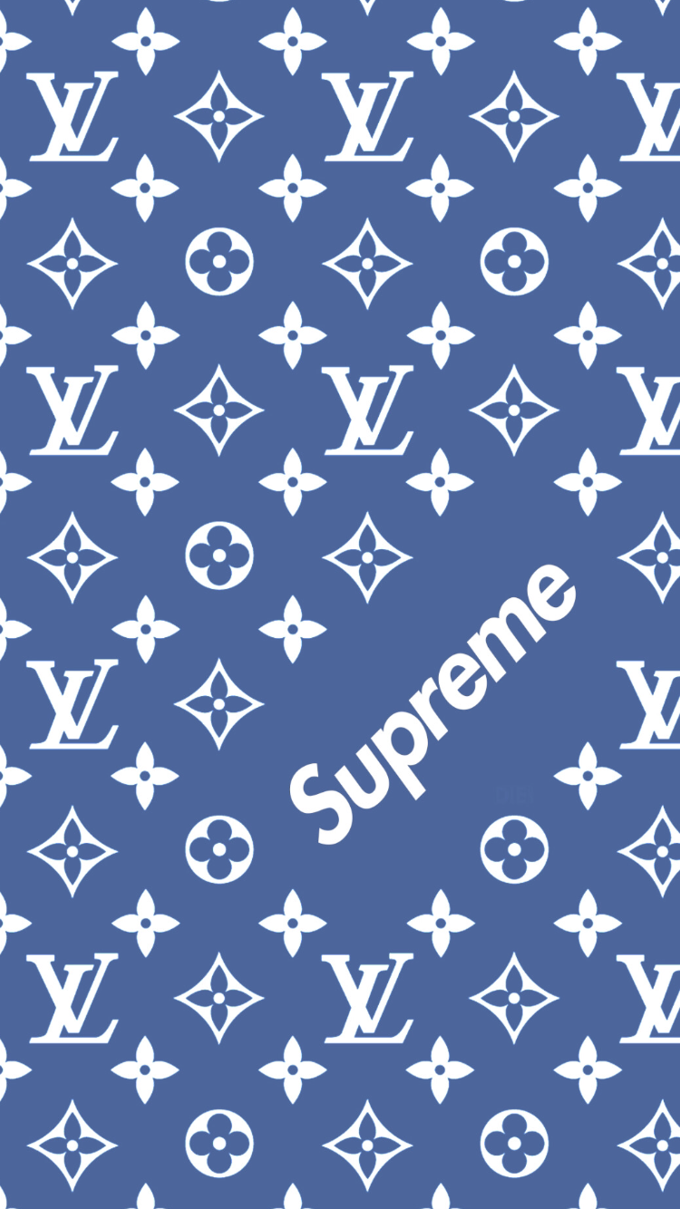 Louis Vuitton X Supreme Pattern Wallpaper Fond D écran