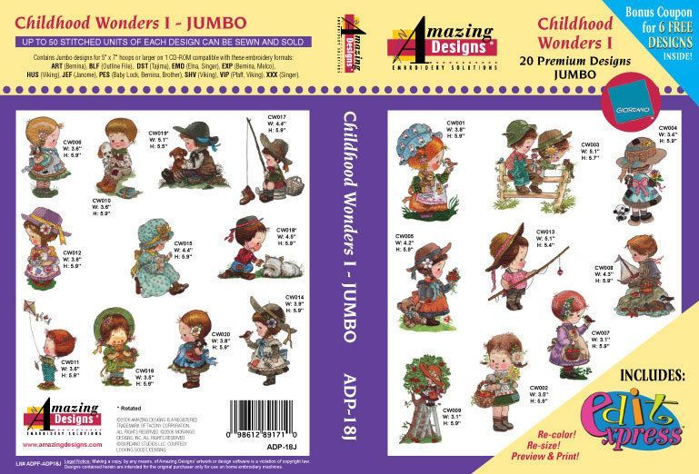 Pes Brother Embroidery Amazing Designs Pack Ad P 18j Childhood