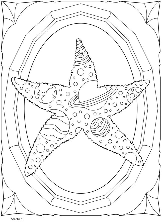 Starfish, solar system, planets coloring sheet Dover Publications ...