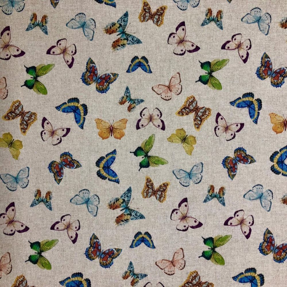 Half Panama Cotton Poly Fabric Pop Art Digital Linen Exotic Butterflies 140cm