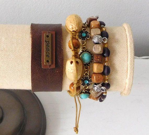 Hippie Bracelets Leather Cuff Peace Sign by LandofBridget on Etsy