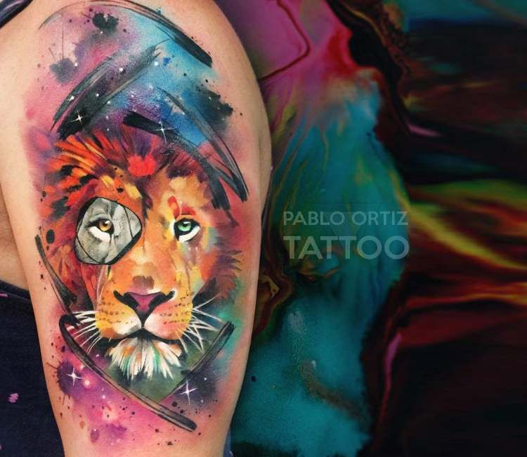 Space Lion Tattoo By Pablo Ortiz Tattoo Watercolor Lion Tattoo