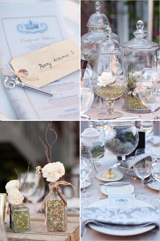 vintage wedding ideas.. the jars with the flowers and rock is pretty!