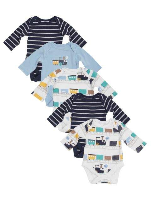 Mothercare Infant Boys Pack Of 5 Bodysuits Multi Color Printed Cotton Combo Printed Cotton Multi Color Cotton
