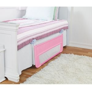 Toddler Bed Rail in Pink    Quick and easy five minute assembly.  No tools required.  Secure locking mechanism.  Convenient fold down position makes lifting your child and changing the bedding easier.  Suitable for beds with mattress widths from 76 cm to 140 cm and mattress lengths from 160 cm to 210 cm.  Suitable for bed types - slatted, divan and ensemble.  Not suitable for beds where mattress sits within a raised frame or upper bunk beds.  Complies to BS7972:2001+A1:2009.