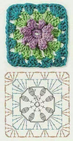 Pin von Lorena auf diagramas | Pinterest | Häkeln, Square und Omas ...