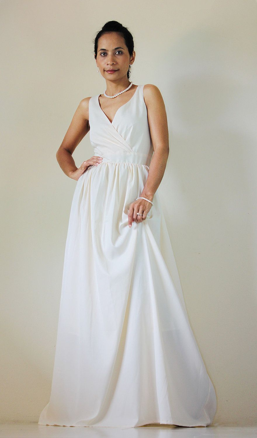 Cream Maxi dress Classy Sexy Pleated  V shape Sleeveless  Formal Long Evening Gown: Bussaba My Endless Love  Collection. $69,00, via Etsy.