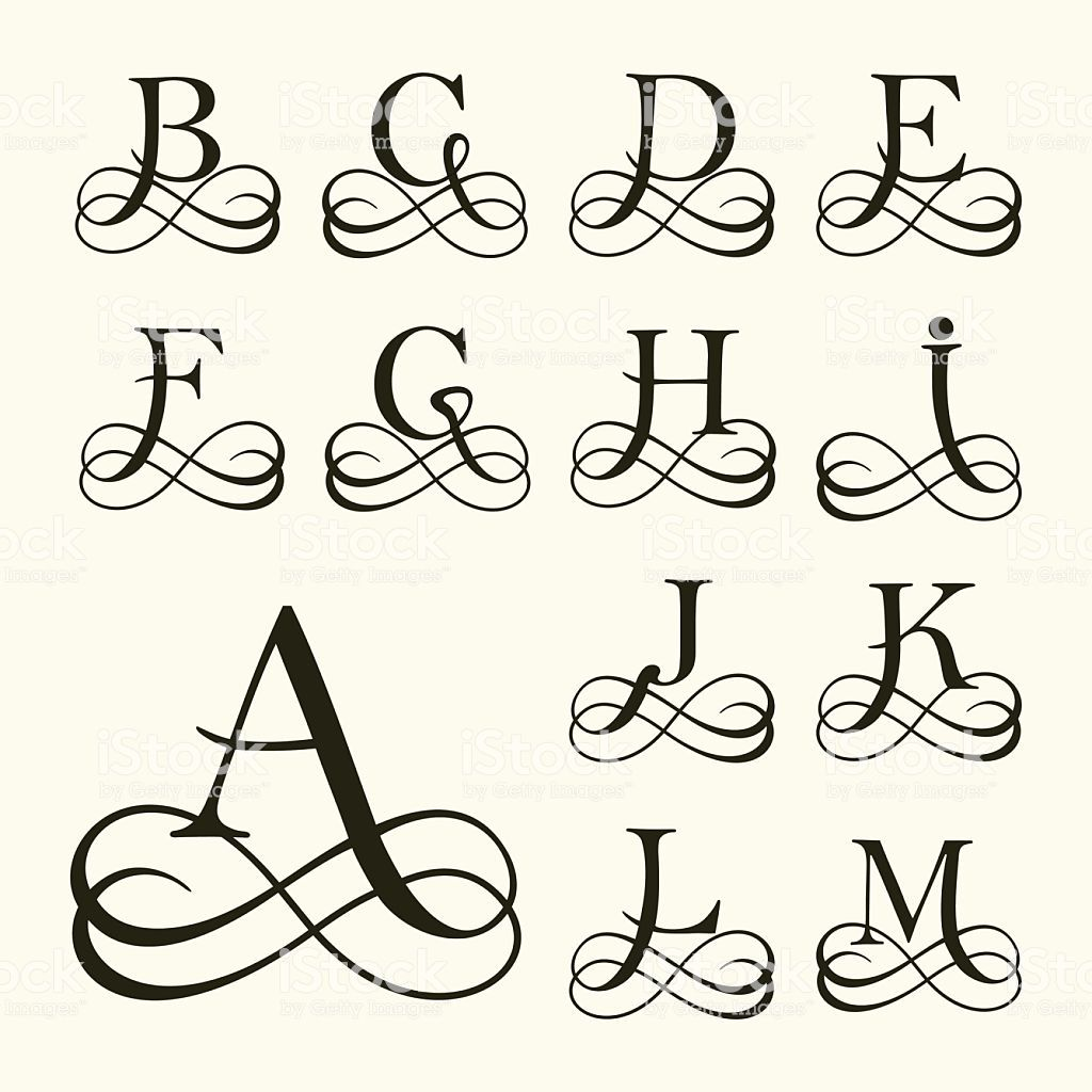 Vintage Set Capital Letter For Monograms And Logos