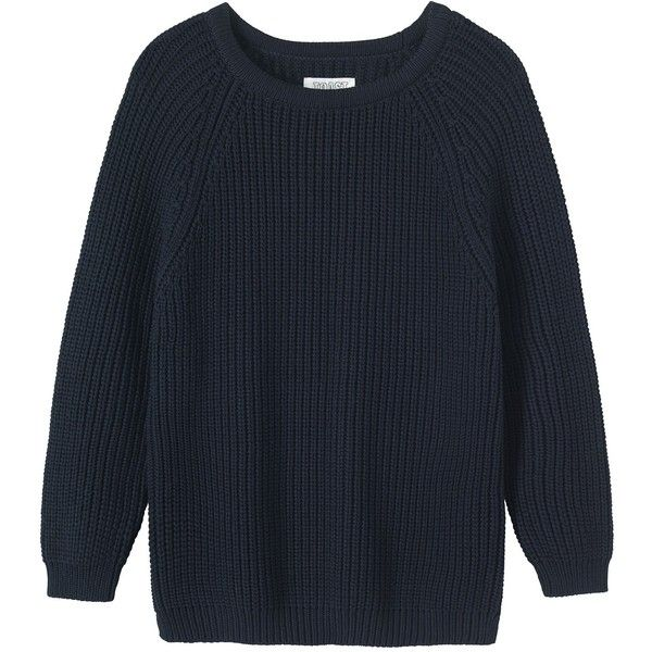 Toast Fisherman Rib Sweater (€92) ❤ liked on Polyvore featuring tops, sweaters, shirts, jumpers, dark navy, side slit top, raglan top, raglan sweater, chunky sweater and full length sweater