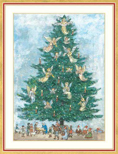 angel tree and nativity scene boxed christmas cards caspari