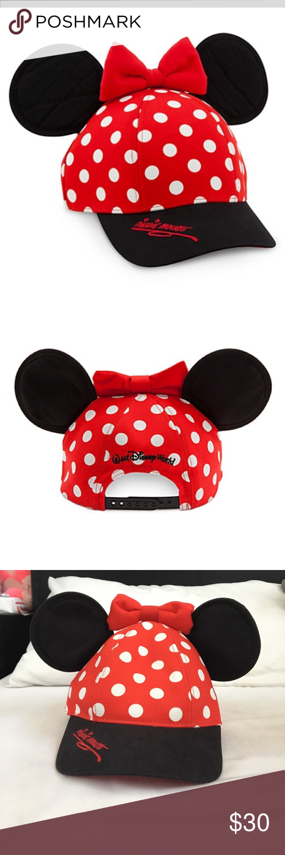 Minnie Mouse Disneyland Head Gear Bundle This is a bundle of  1-Minnie Mouse  Ears head band(plush) and 1- Minnie Mouse Baseball cap style with ears. 1679c4910005
