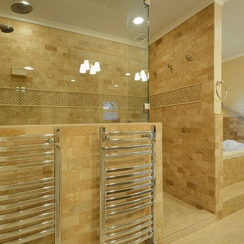42 Bathroom Remodel Ideas   Doors, Half walls and Lights