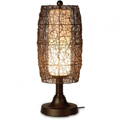 Image result for Bristol Table Lamp with Bronze Body and Wicker Brown Shade