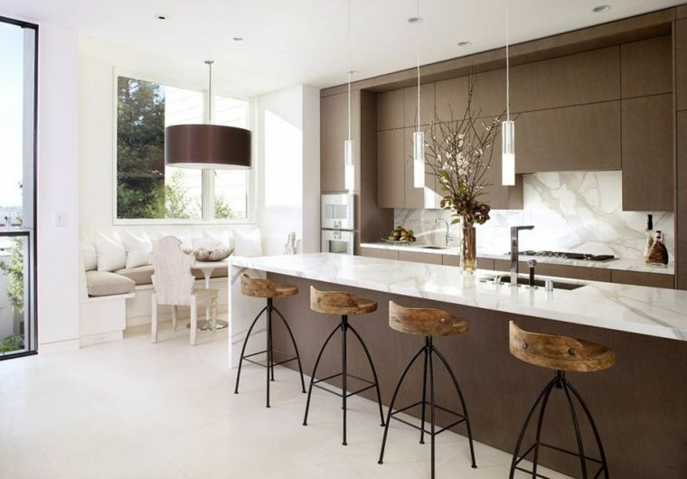 Plan de travail cuisine moderne en pierre et bois - Table De Cuisine Avec Plan De Travail