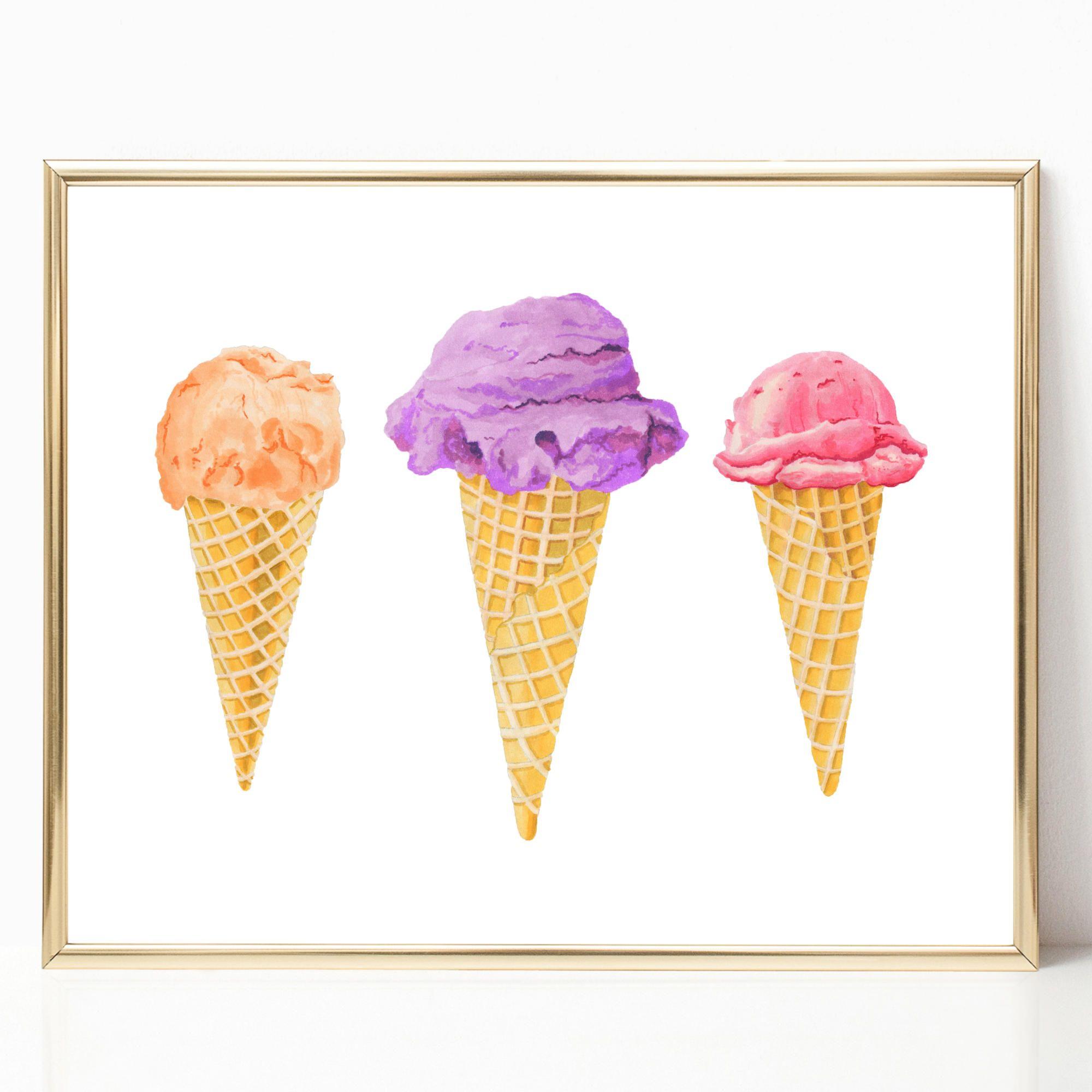Ice Cream Cones Party Print Ice Cream Decor Ice Cream Printable