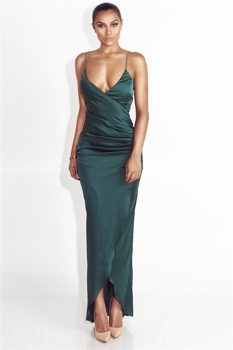64ed41784aba Available in Green and Red - Ankle-Length - Sleeveless - Polyester - Solid  - Satin
