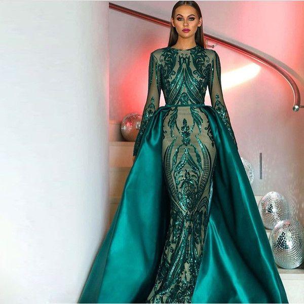 1b1b35b4a1 Giaymus Amazing Prom Dresses 2018 Long Sleeves Sequin Lace Dark Green  Detachable Train Satin Tail Prom Dresses Vestidos De Festa Formal Gigi Prom  Dresses ...