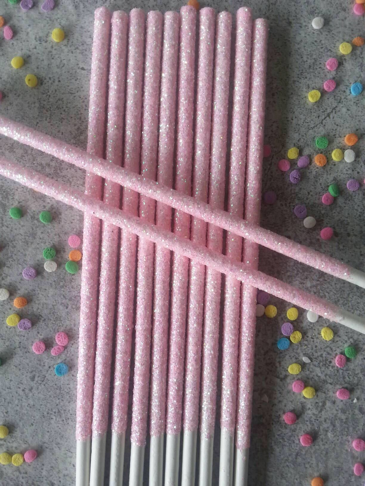 and tea party party birthday glitter 12 Real pink glitter candy apple sticks dessert bar baby shower