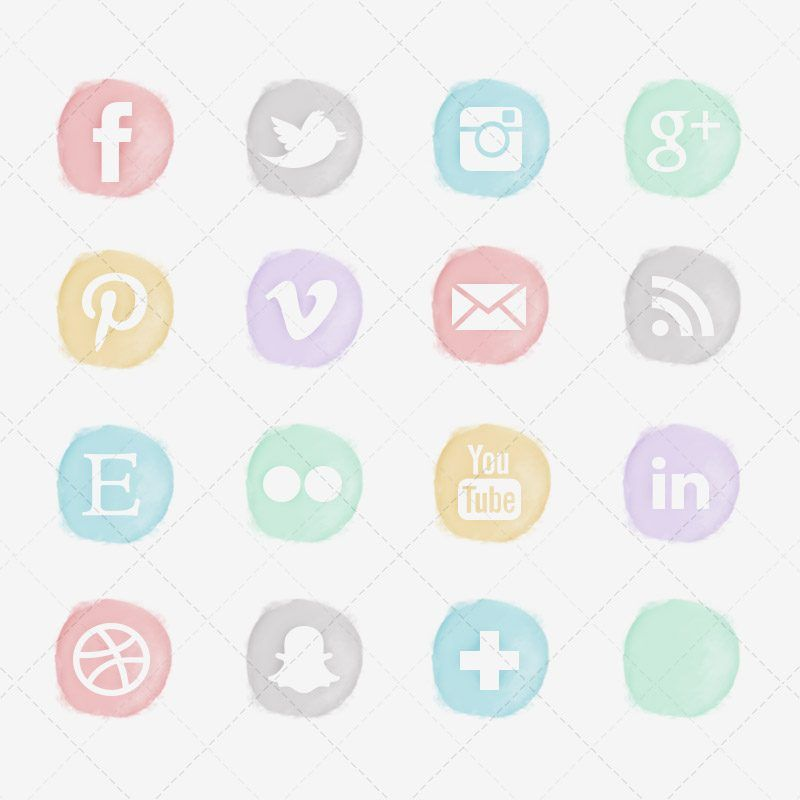 Free Watercolor Social Icons Pastel Design Stuff Pinterest