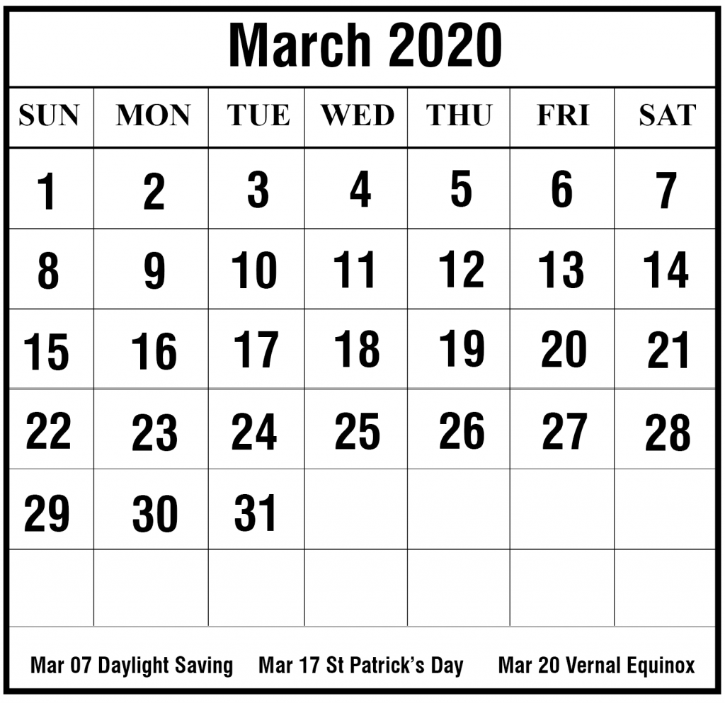 Calendar 2020 March Printable Template Download In 2020