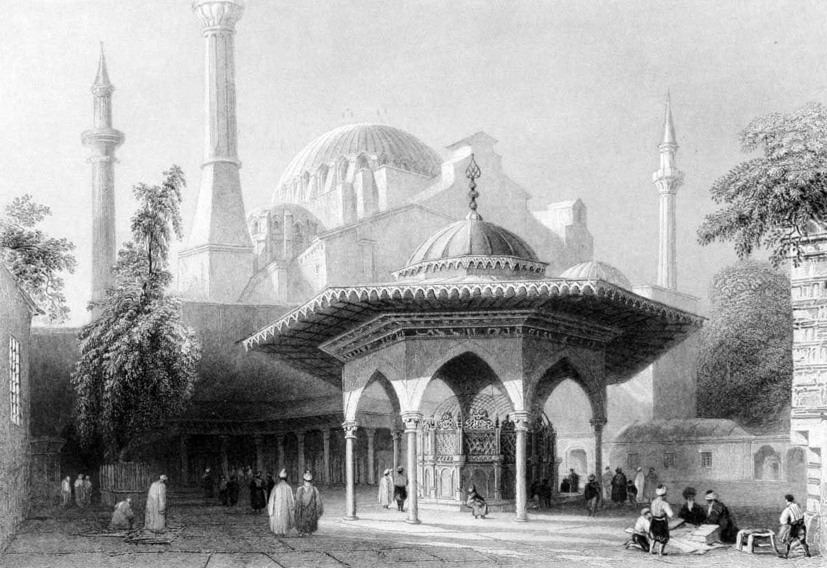 Ayasofya Meydanı - Miss Pardoe, 'The Beauties of the Bosphorus',  Londra 1838. Çelikbaskı.  William H. Bartlett