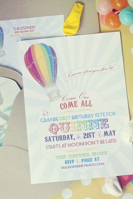 Such a cute party invite birthday ideas pinterest balloon rainbow hot air balloon birthday invitation by paigesofstyle filmwisefo