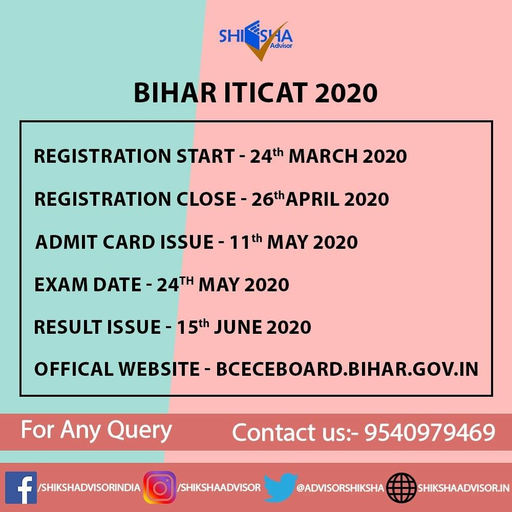 Bihar Iticat 2020 Registration Has Been Started From 24th March