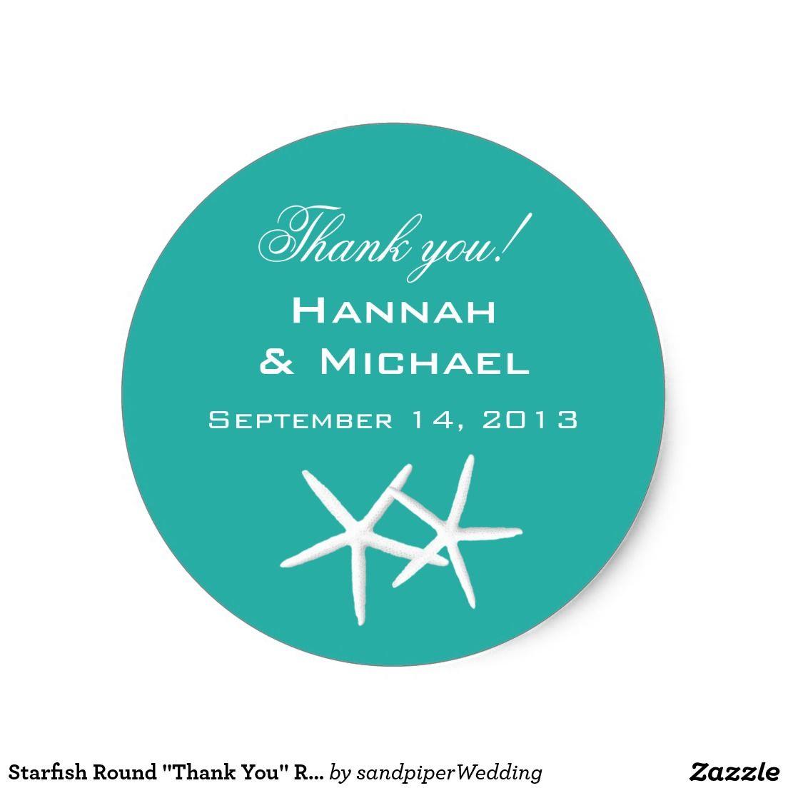 "Starfish Round ""Thank You"" Reception Favor Labels Classic Round Sticker"