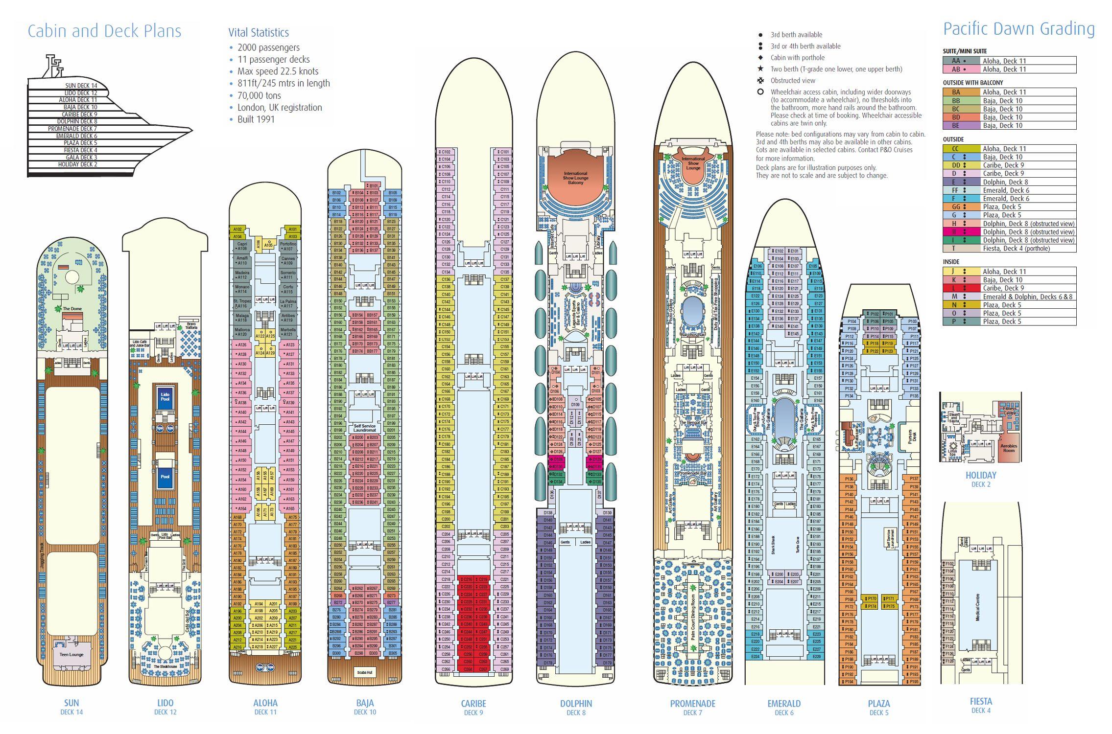 Pacific Dawn Deck Plan Pacific Dawn Deck Plans Cruise Holidays