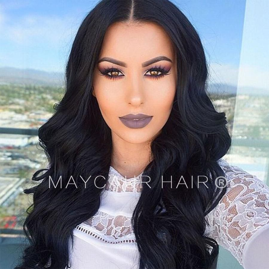 Synthetic lace front wigs with baby hair black long wavy hair for