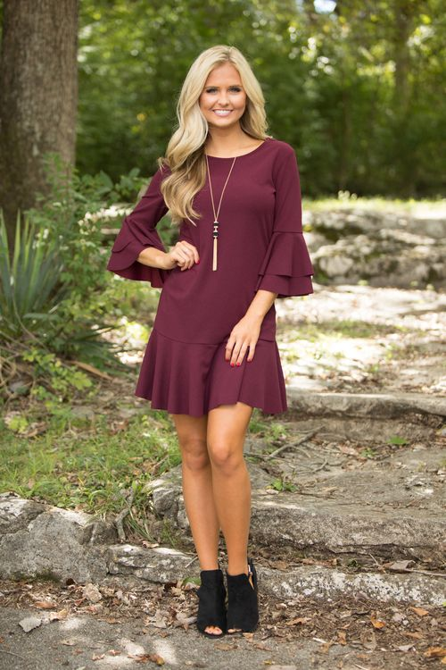She s The Talk Of The Town Dress Burgundy - The Pink Lily 4377ca0fc