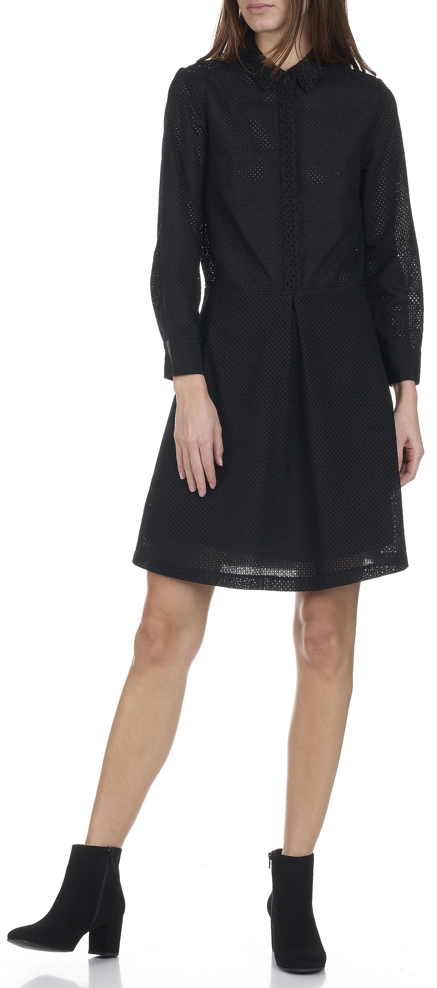 Camomille Courte En Comptoir Anglaises Broderies Robe Des Noir 16zIqzw