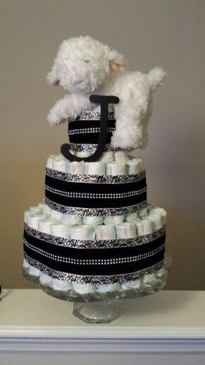 Elegant unisex diaper cake made by me :-)