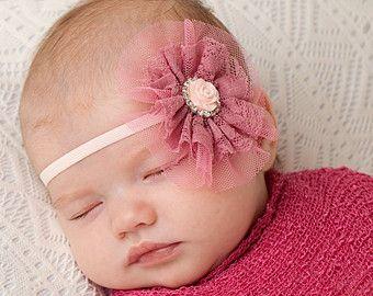 Rosa perla diadema cinta beb rosa diadema de flor rosa diadema
