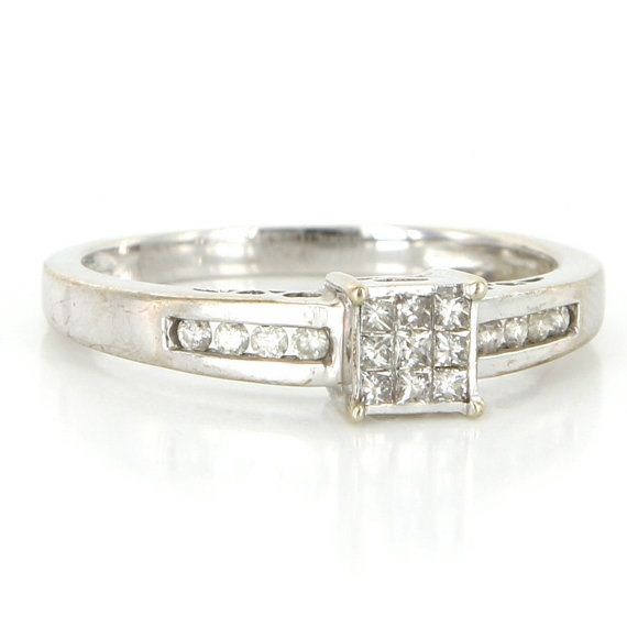 Vintage 10 Karat White Gold Diamond Square Cocktail Ring Fine Estate Jewelry Estate Jewelry Jewelry White Gold Diamonds