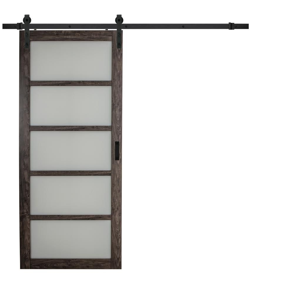 TRUporte 36 in. x 84 in. Iron Age Gray MDF Frosted Glass 5 Lite ...