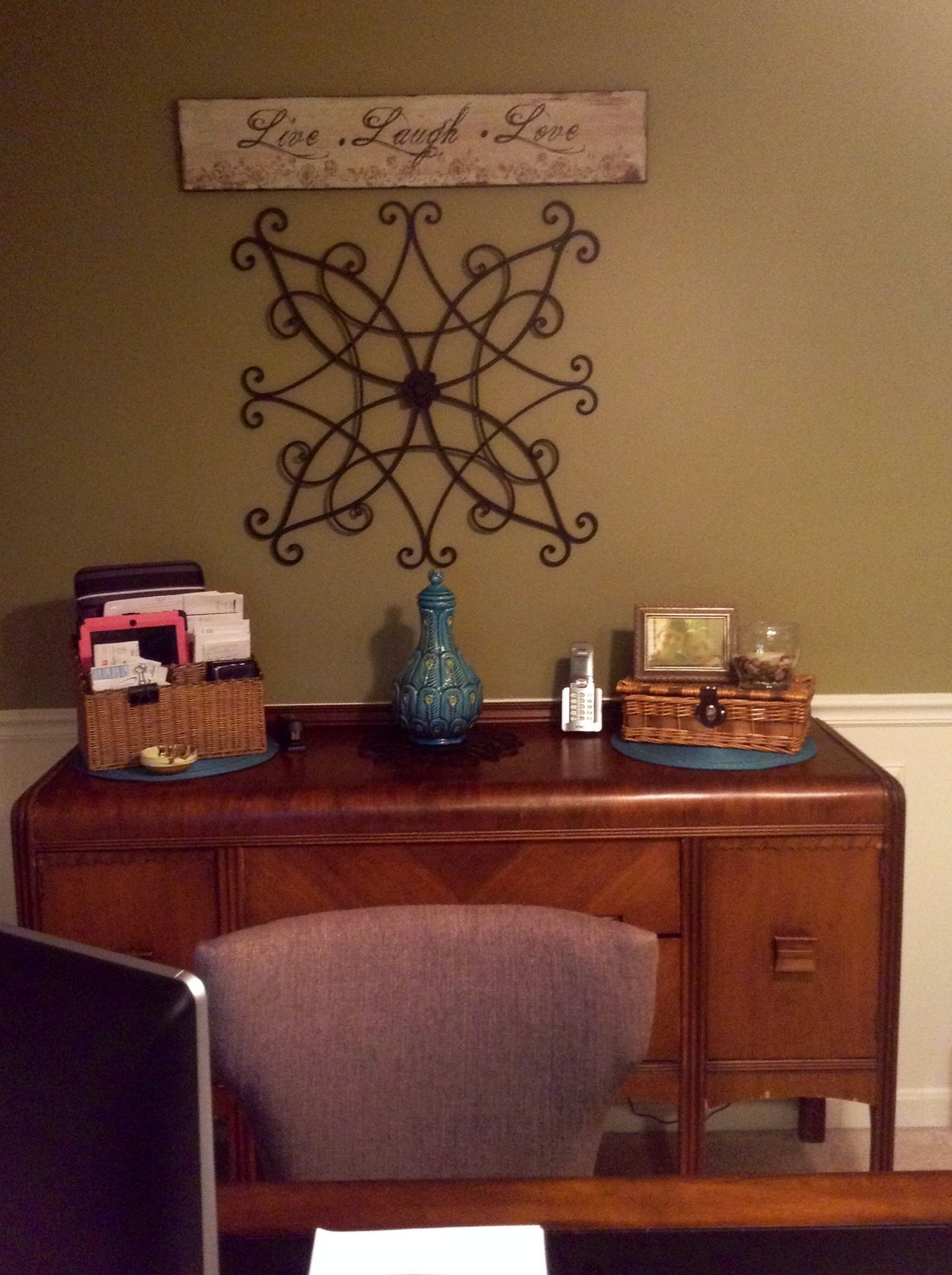 An Antique Dining Room Buffet Used In My Office For Organization
